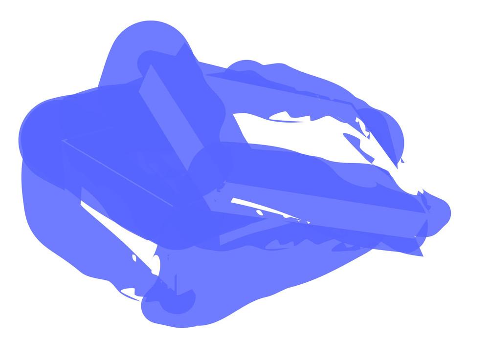 Grunge Blue Open Box Vector Shape