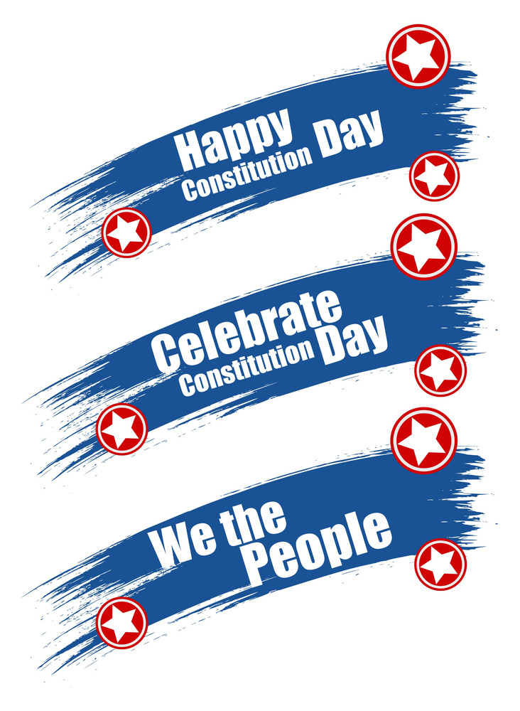 Grunge Brush Stroke Banner Constitution Day Vector Illustration