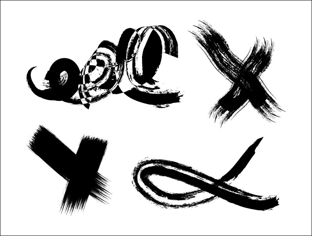 Grunge Brush Strokes Design Elements