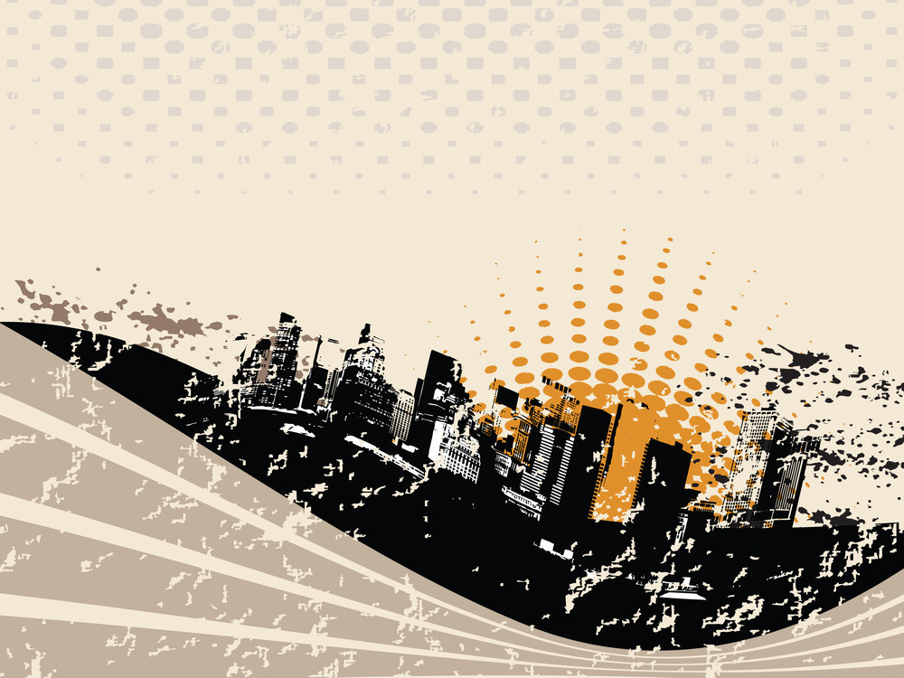 Grunge City Background With Wave