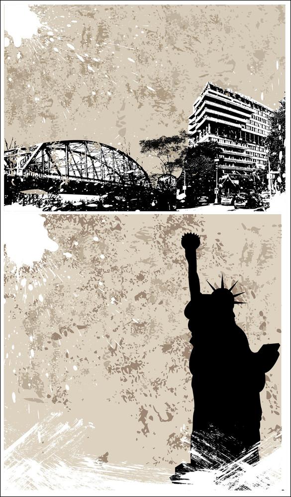 Grunge City Backgrounds Vectors