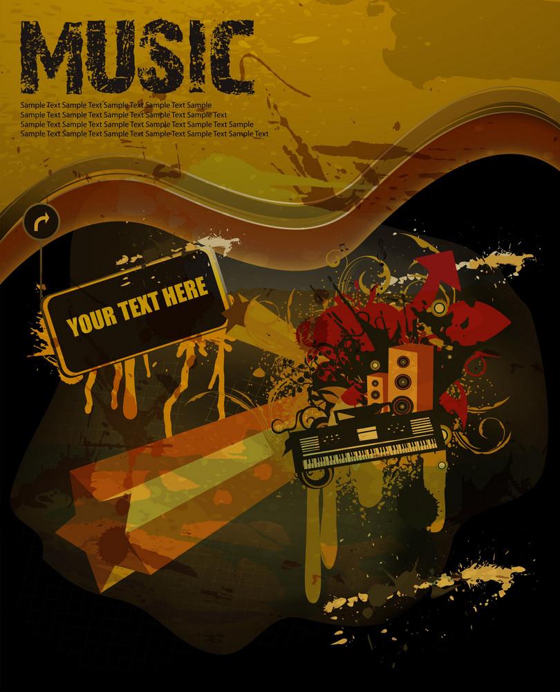 Grunge Concert Poster Vector Illustration