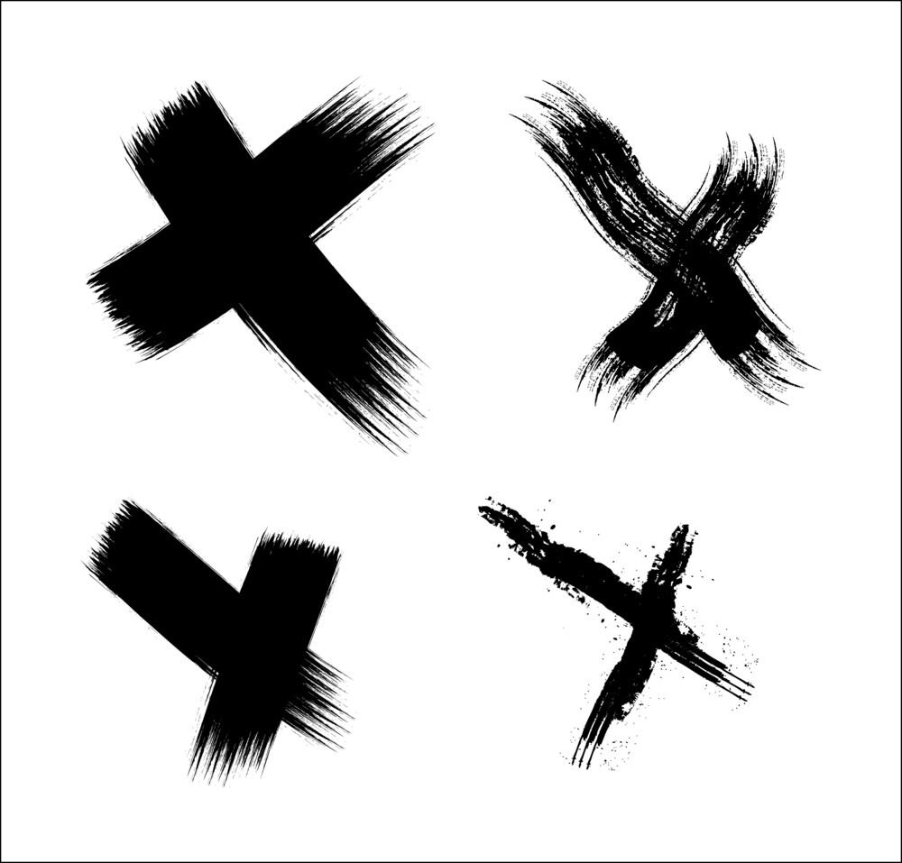 Grunge Cross Signs Vector Set