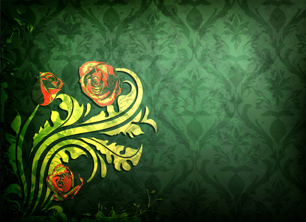 Grunge Damask Background With Roses Vector Illustration