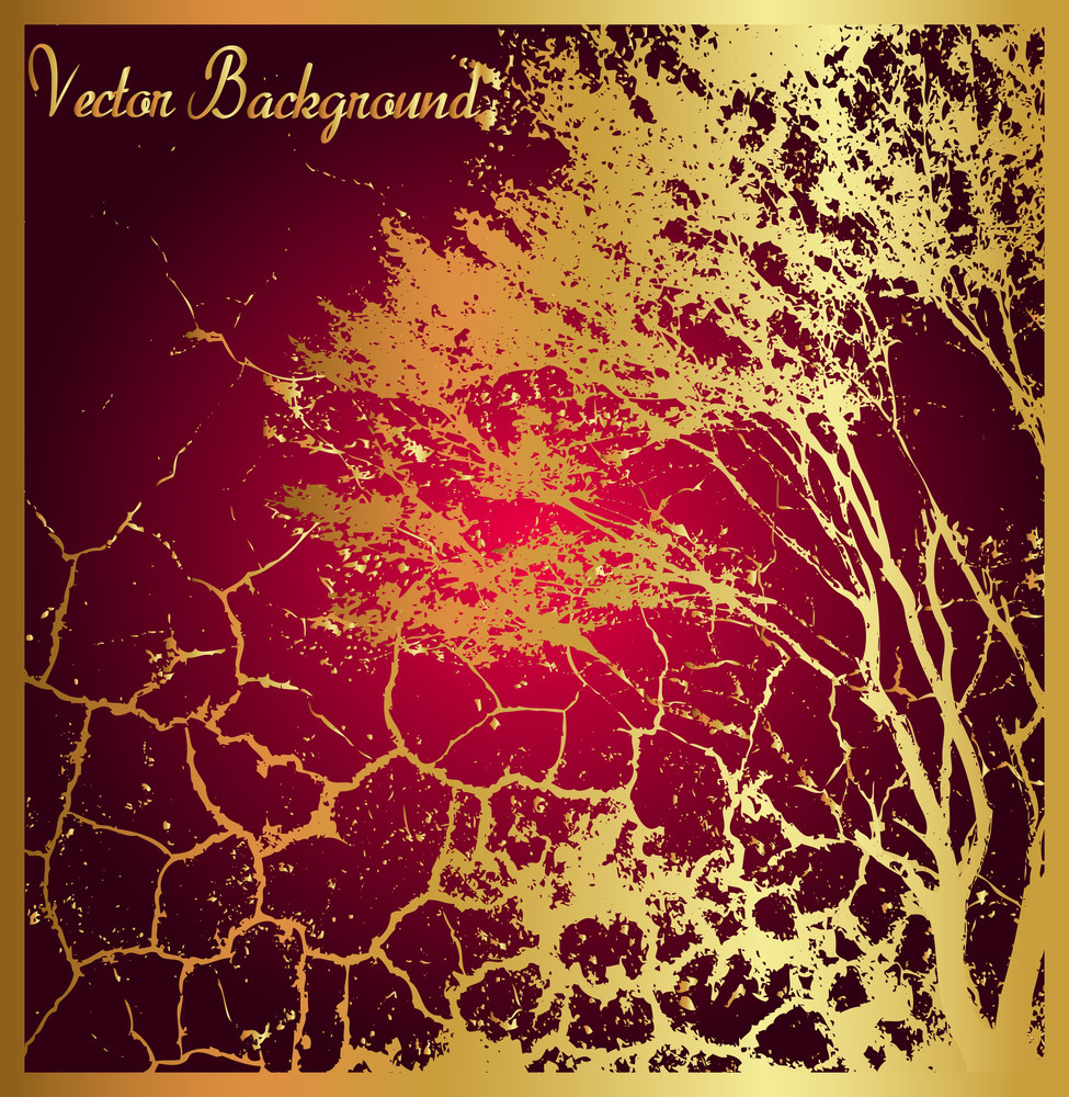 Grunge Dead Tree Golden Background