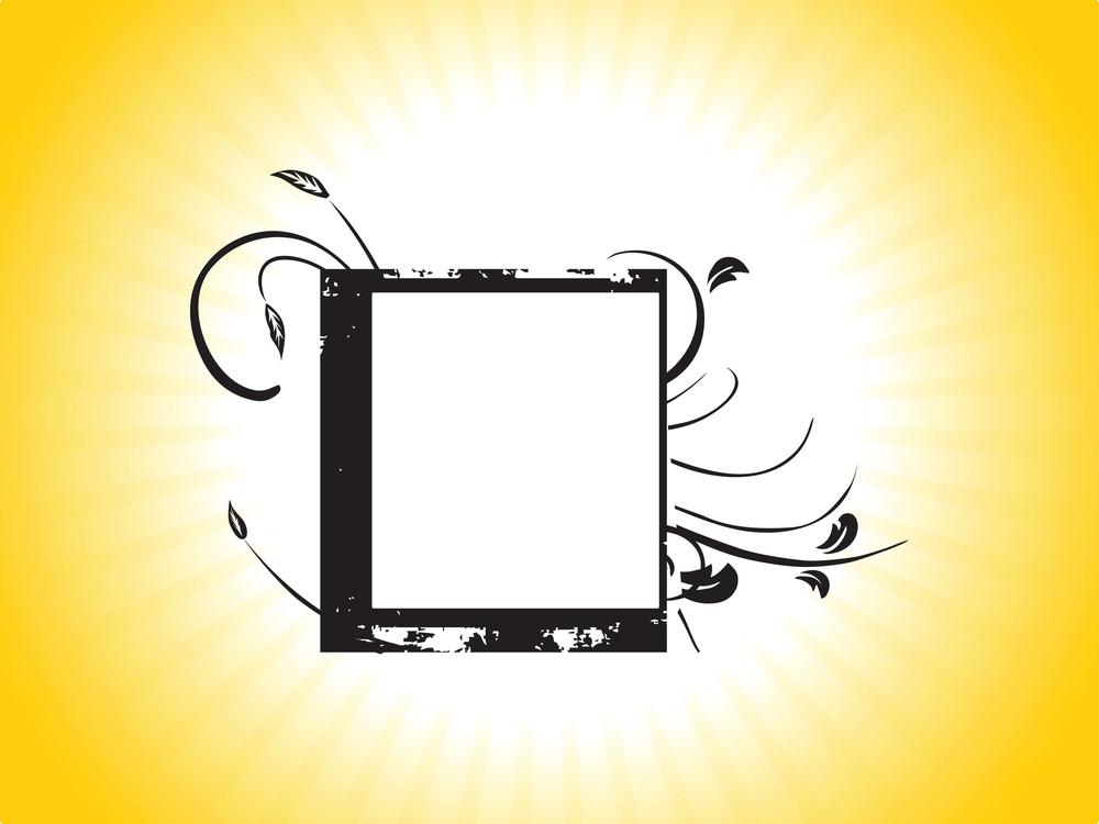 Grunge Design Black Flourish Frame In Yellow