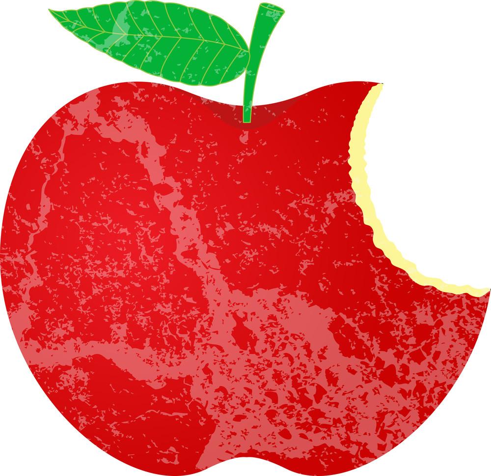 Grunge Eaten Apple Shape
