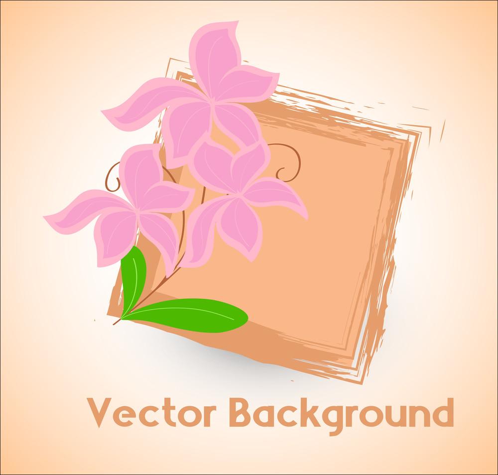 Grunge Festive Banner Flower Vector