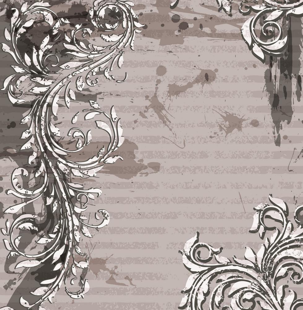 Grunge Floral Background Vector Illustration