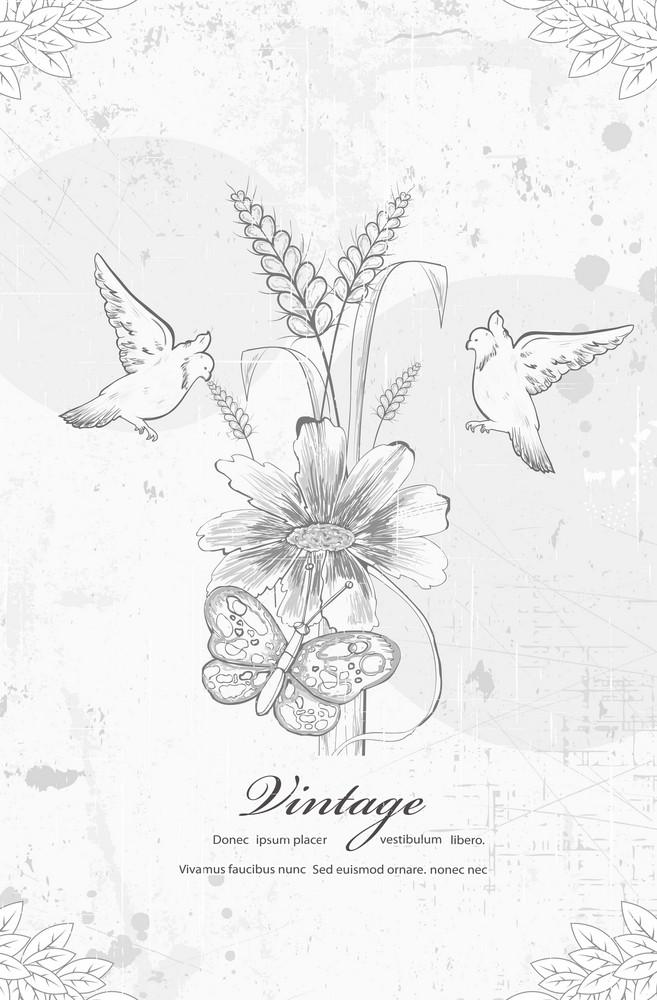 Grunge Floral Background With Birds Vector Illustration