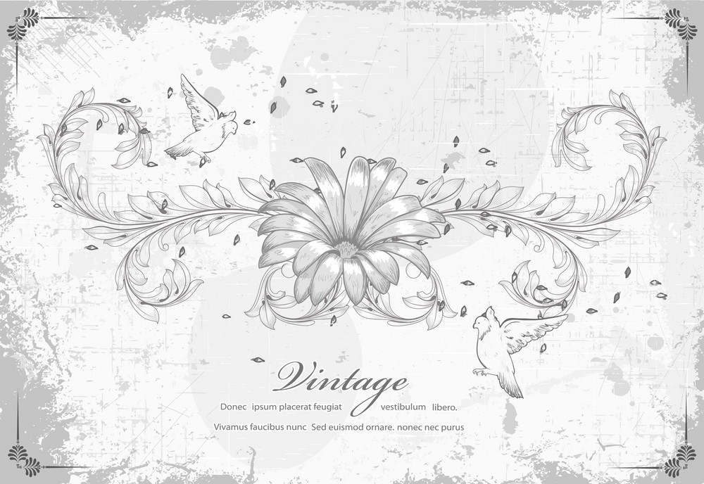 Grunge Floral Background With Birds Vector Illustration