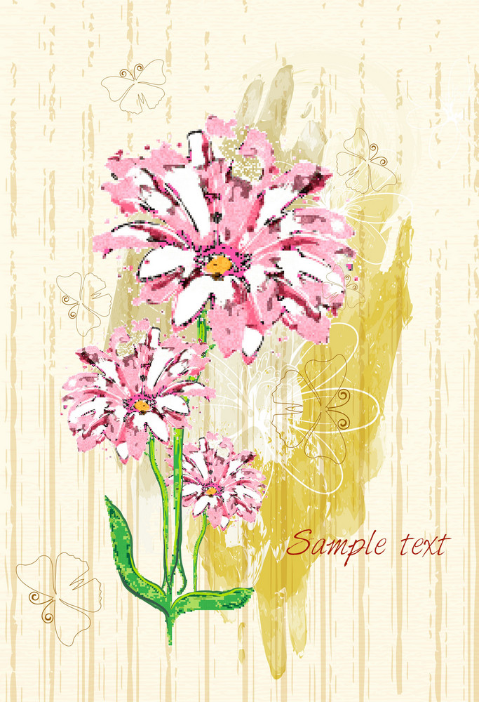 Grunge Floral Background With Butterflies Vector Illustration