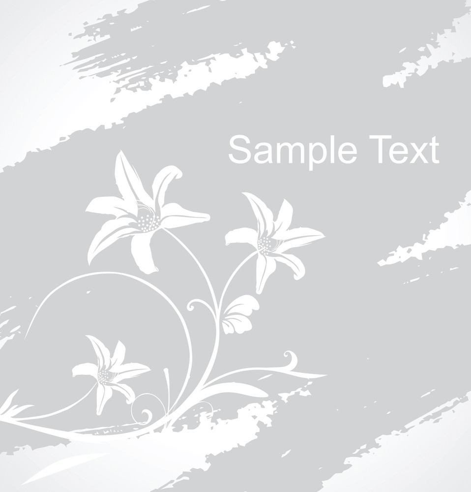Grunge Floral Banner With Sample Text