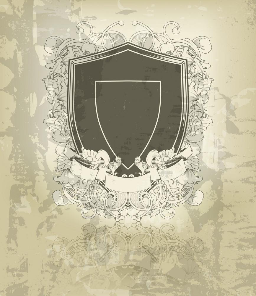 Grunge Floral Emblem Vector Illustration