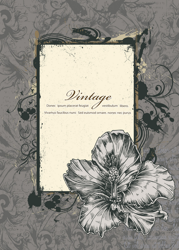 Grunge Floral Frame Vector Illustration
