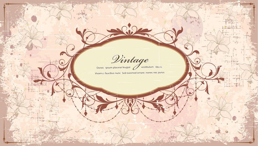 Grunge Floral Frame Vector Illustration