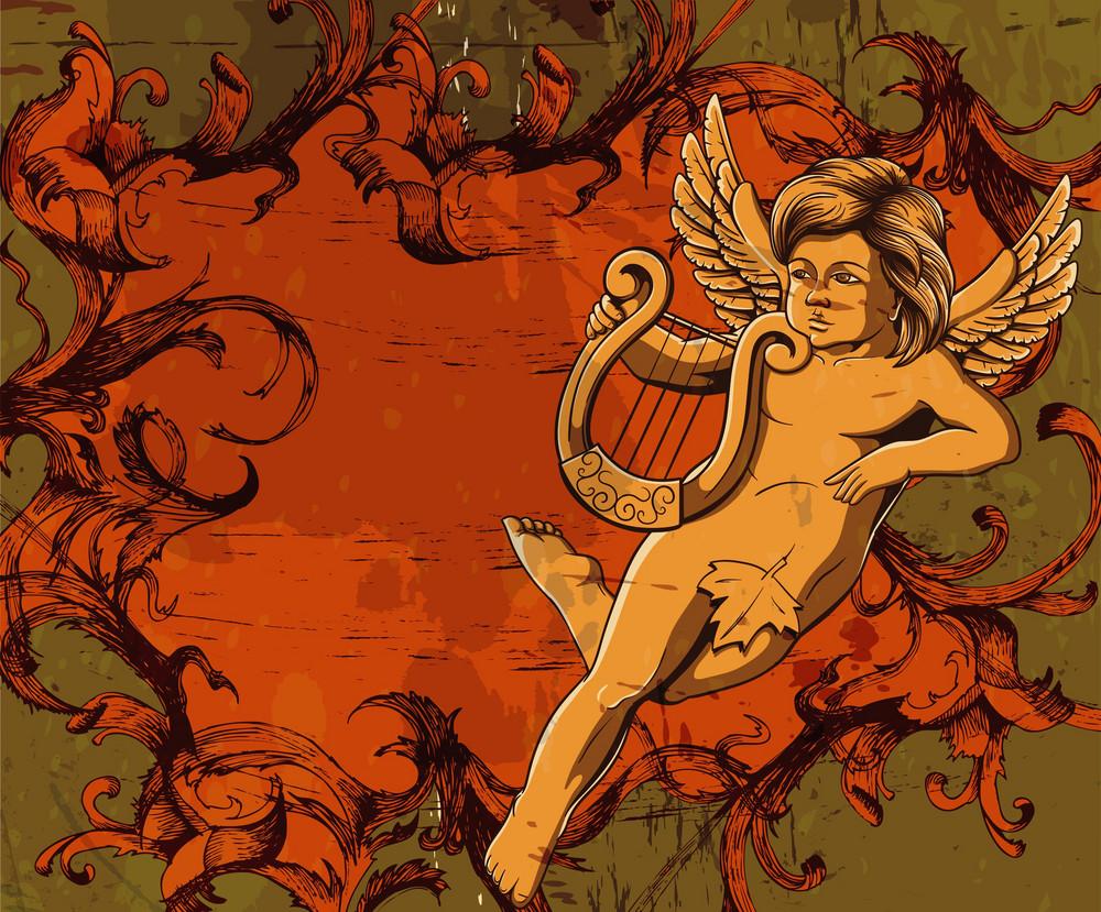 Grunge Floral Frame With Angel Vector Illustration