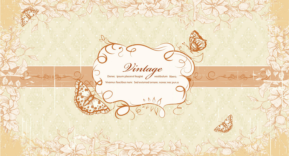 Grunge Floral Frame With Butterflies Vector Illustration