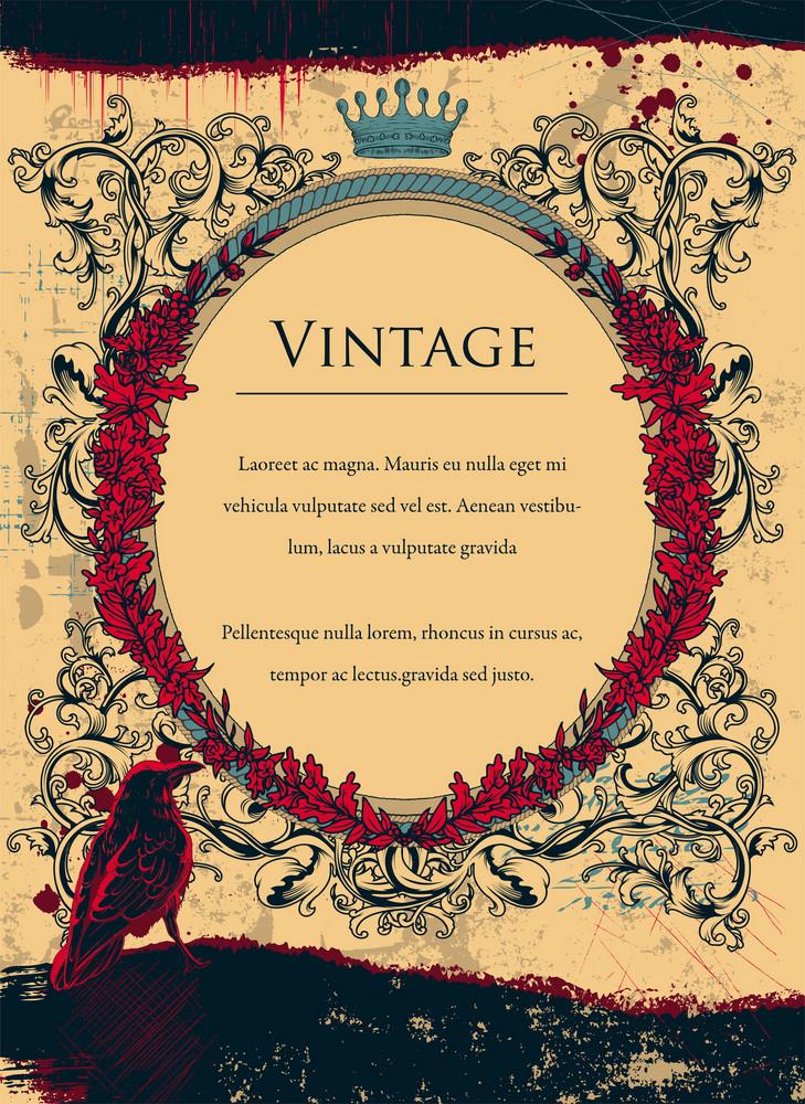 Grunge Floral Frame With Raven Vector Illustration