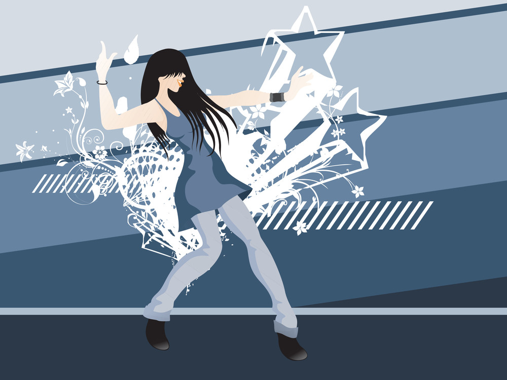 Grunge Floral Stars With Dancing Girl On The Background