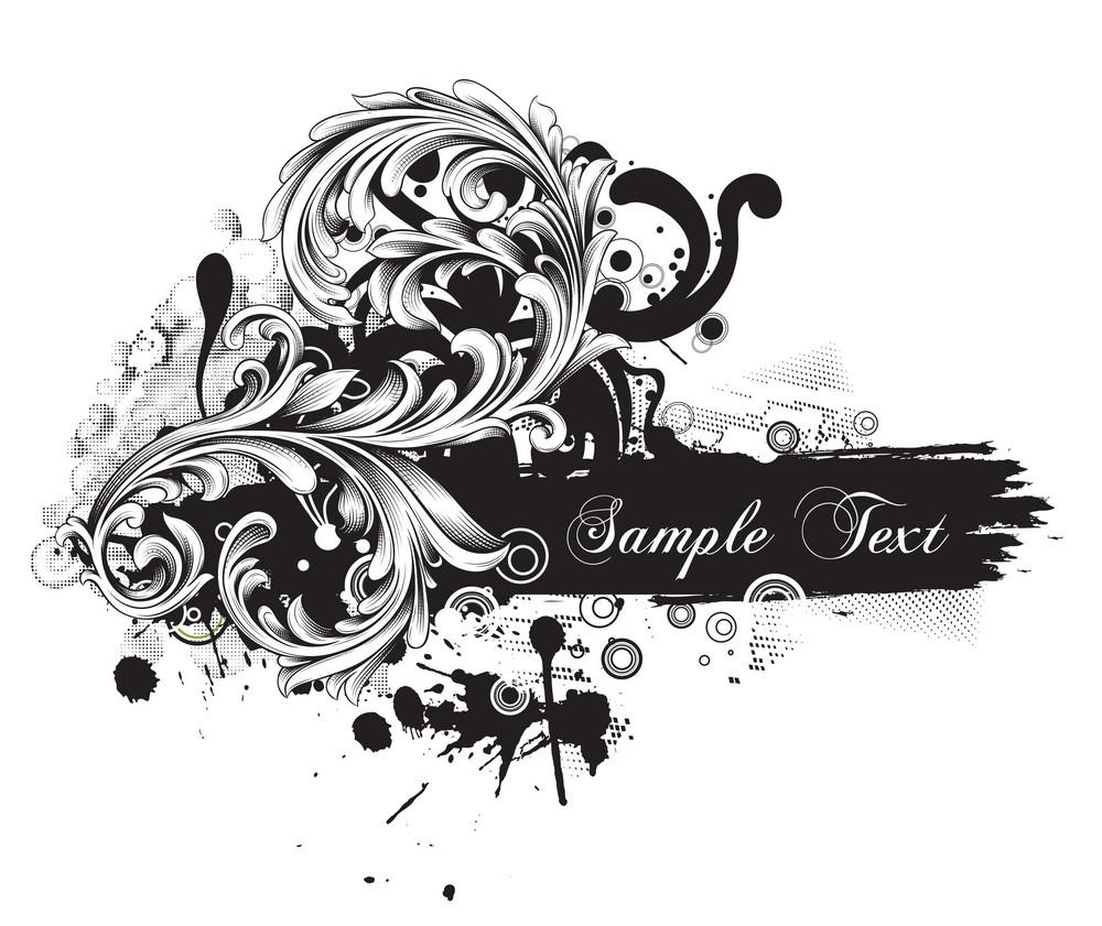 Grunge Floral Vector Illustration