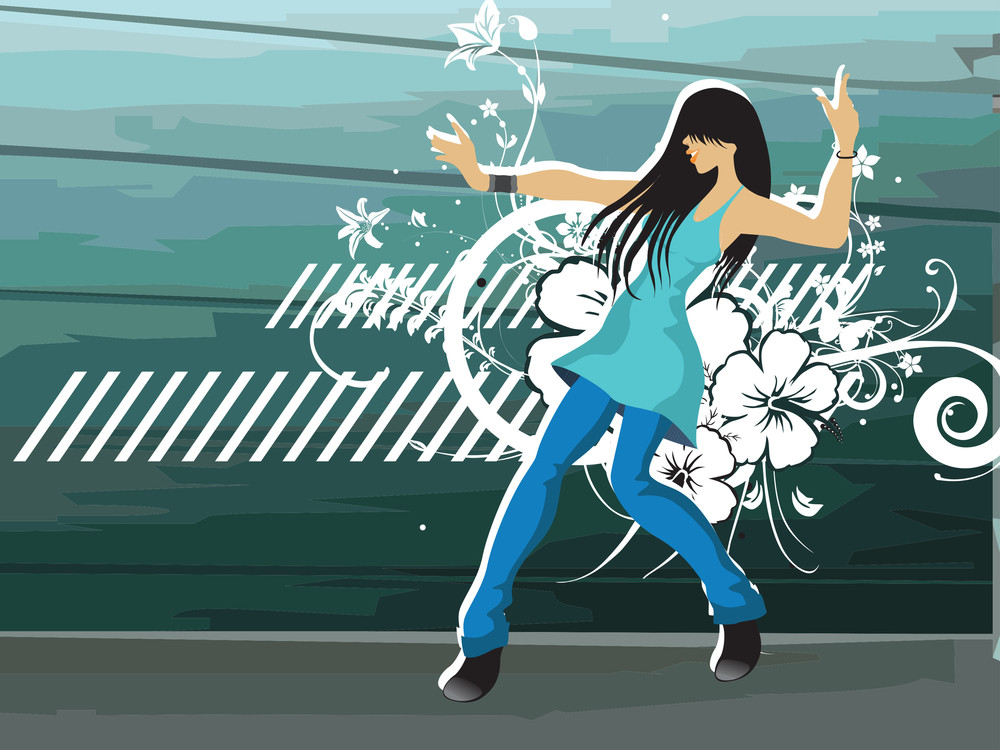 Grunge Floral With Dancing Girl On The Background