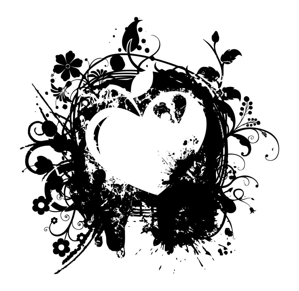 Grunge Flourish Heart Banner