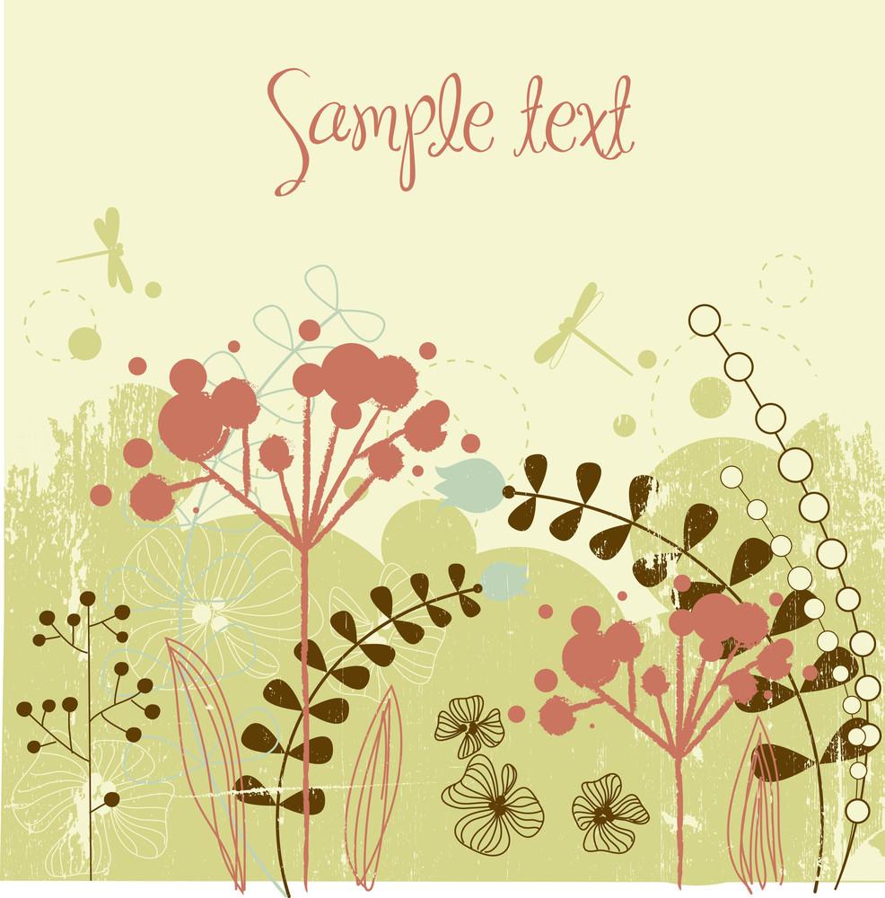 Grunge Flower Background-