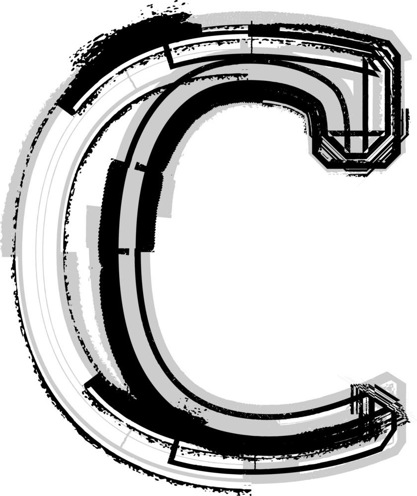 Grunge Font. Letter C