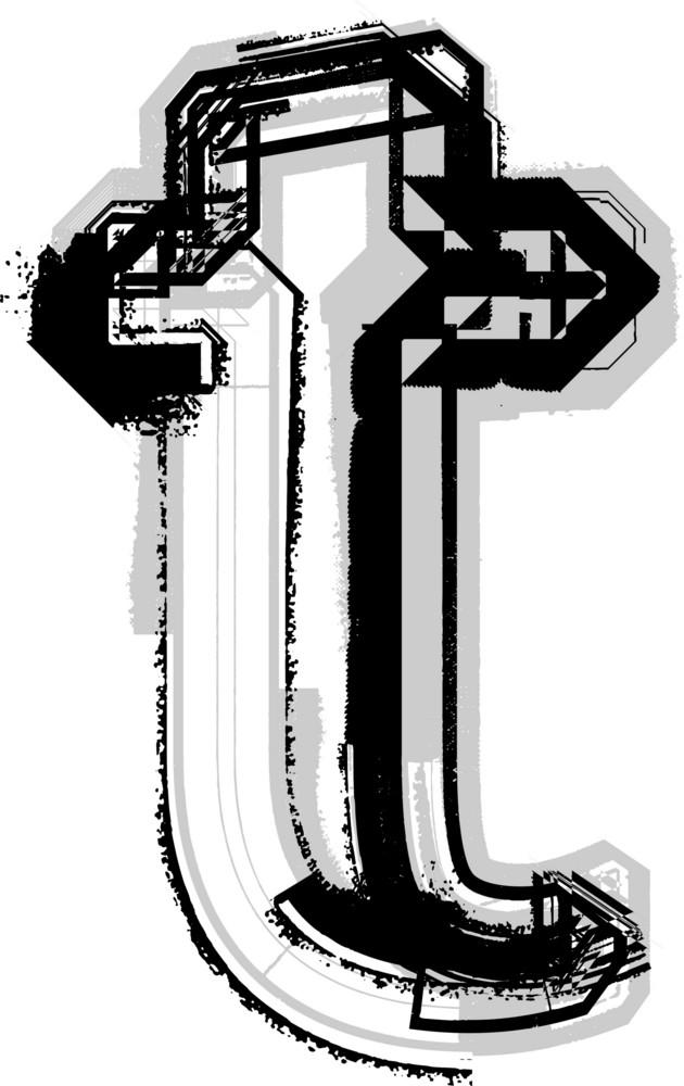 Grunge Font. Letter T