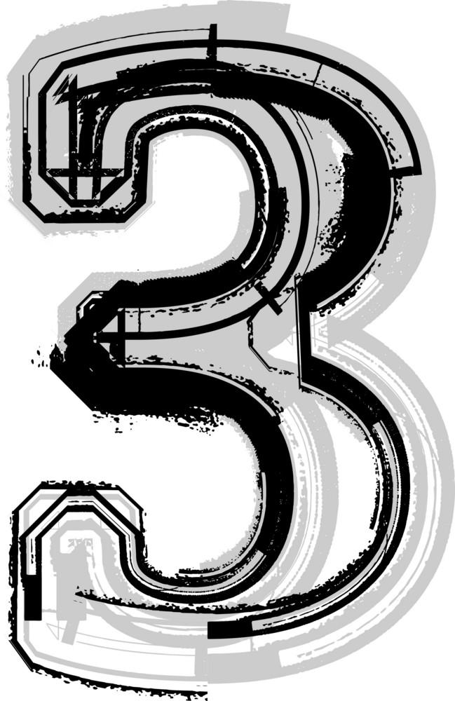 Grunge Font. Number 3
