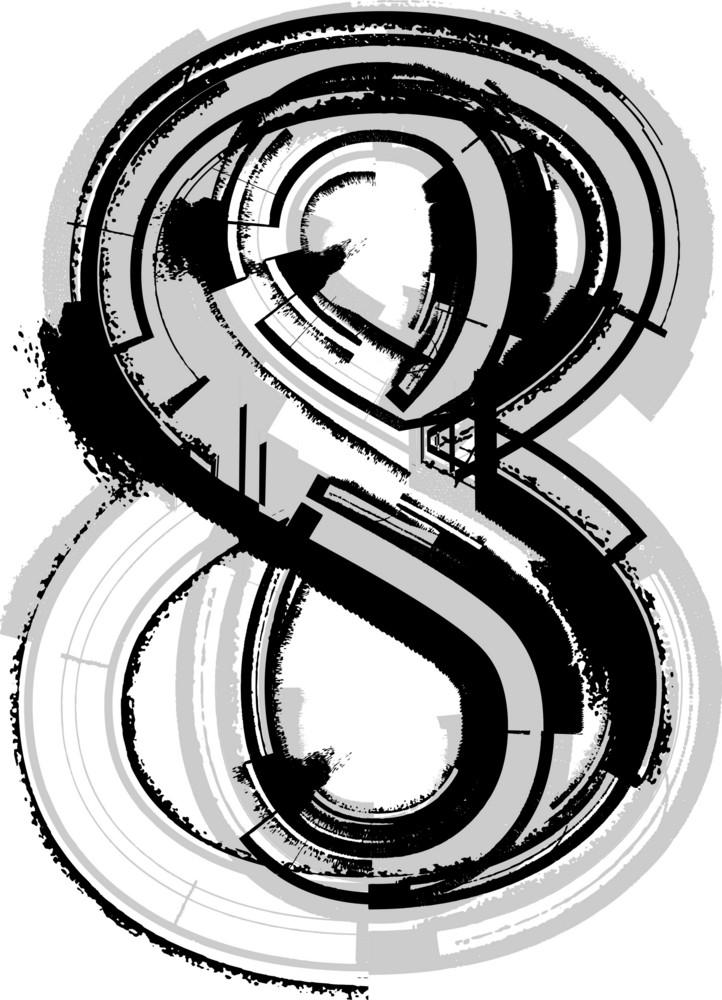 Grunge Font. Number 8