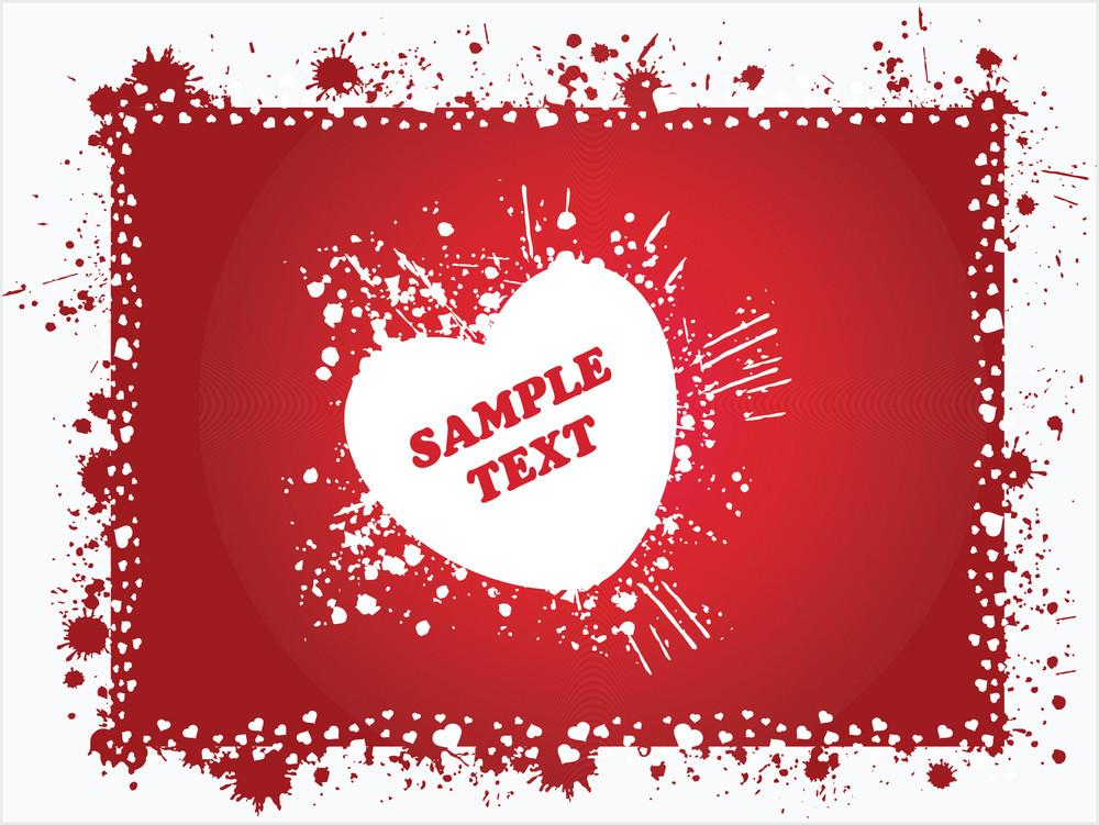 Grunge Frame Of Romantic Hear Red Illustration