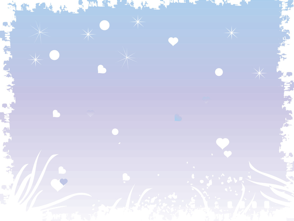 Grunge Frame With Heart And Stars In Blue
