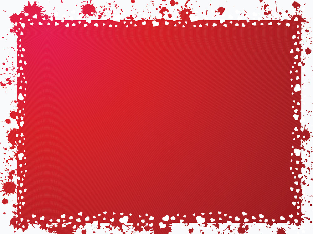 Grunge Frame With Hearts On Red Background