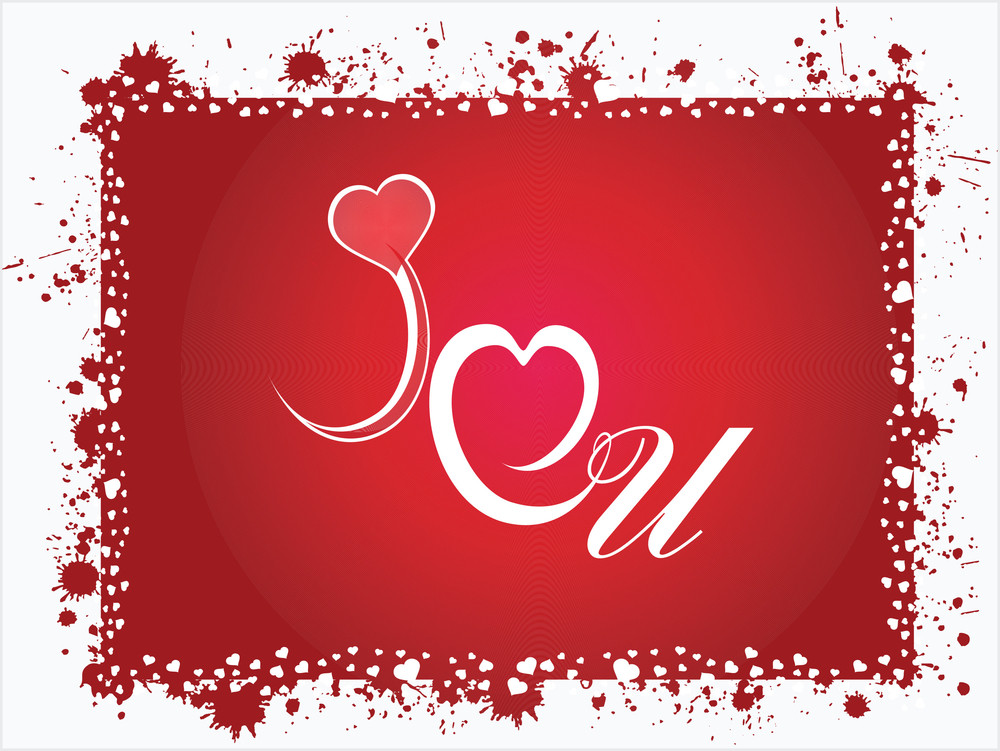 Grunge Frame With Love Notes On Red Background_2