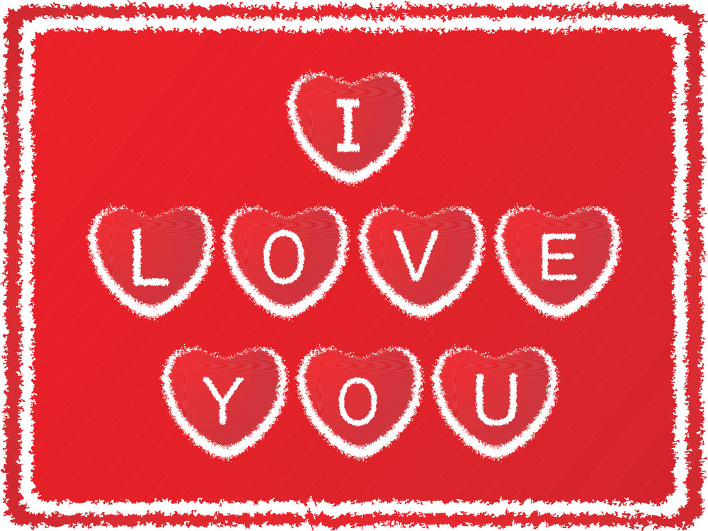 Grunge Frame With Love Notes On Red Background_4