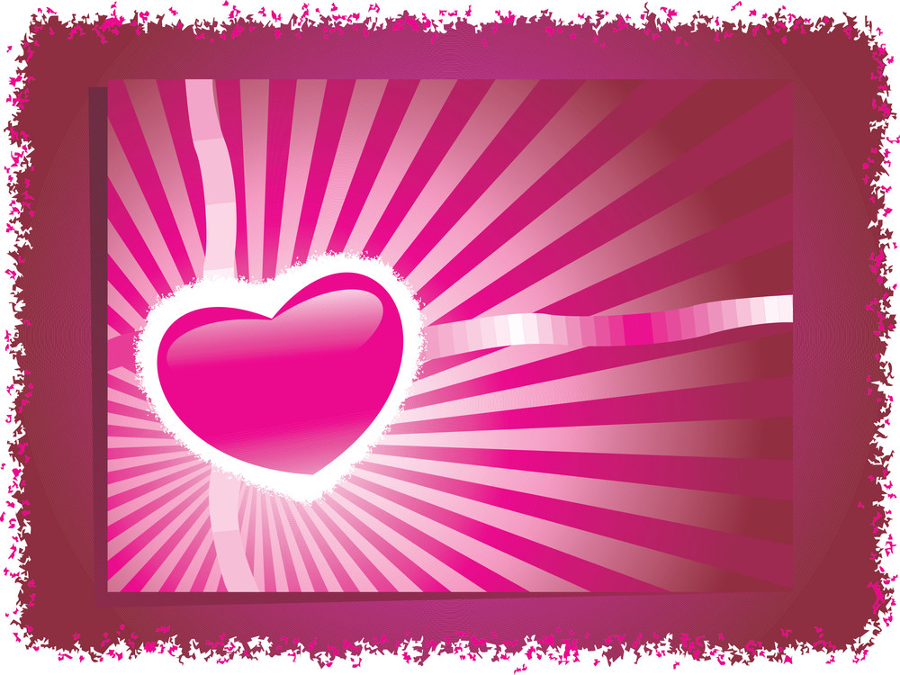 Grunge Frame With Pink Heart