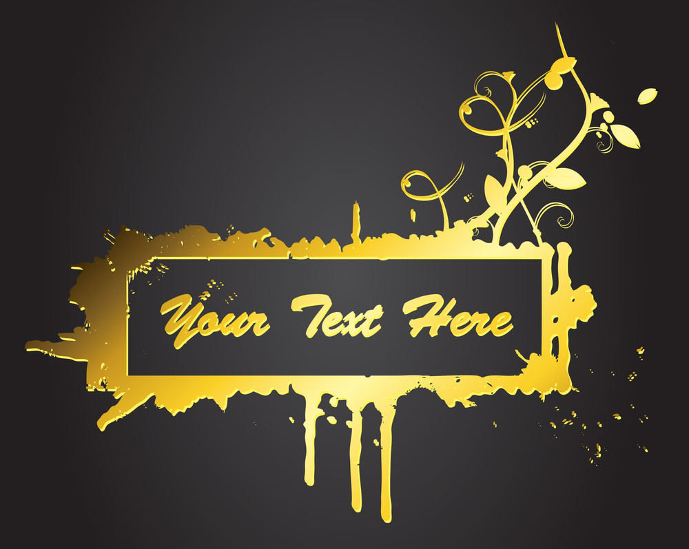 Grunge Golden Banner Vector