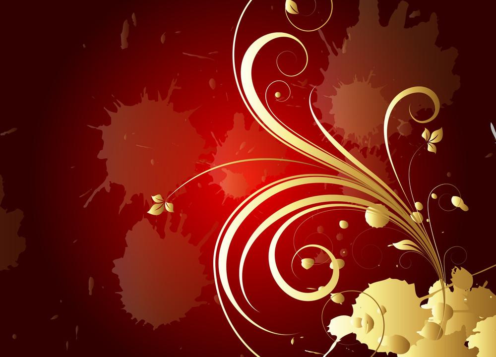 Grunge Golden Floral Background