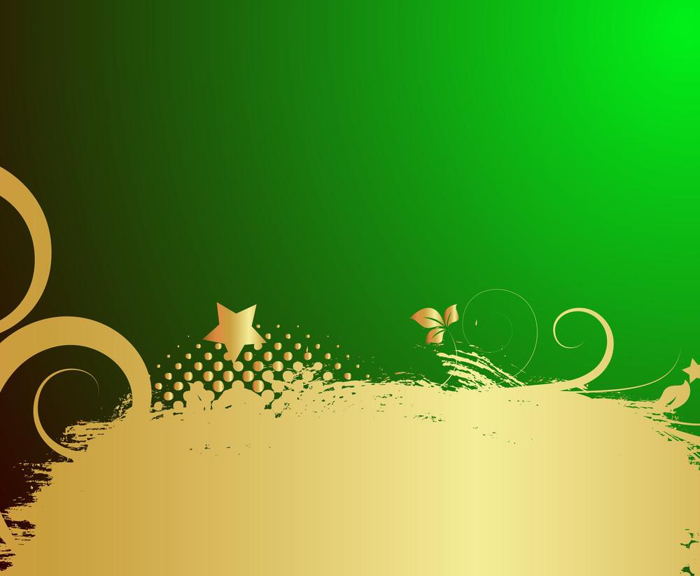 Grunge Golden Floral Holiday Background