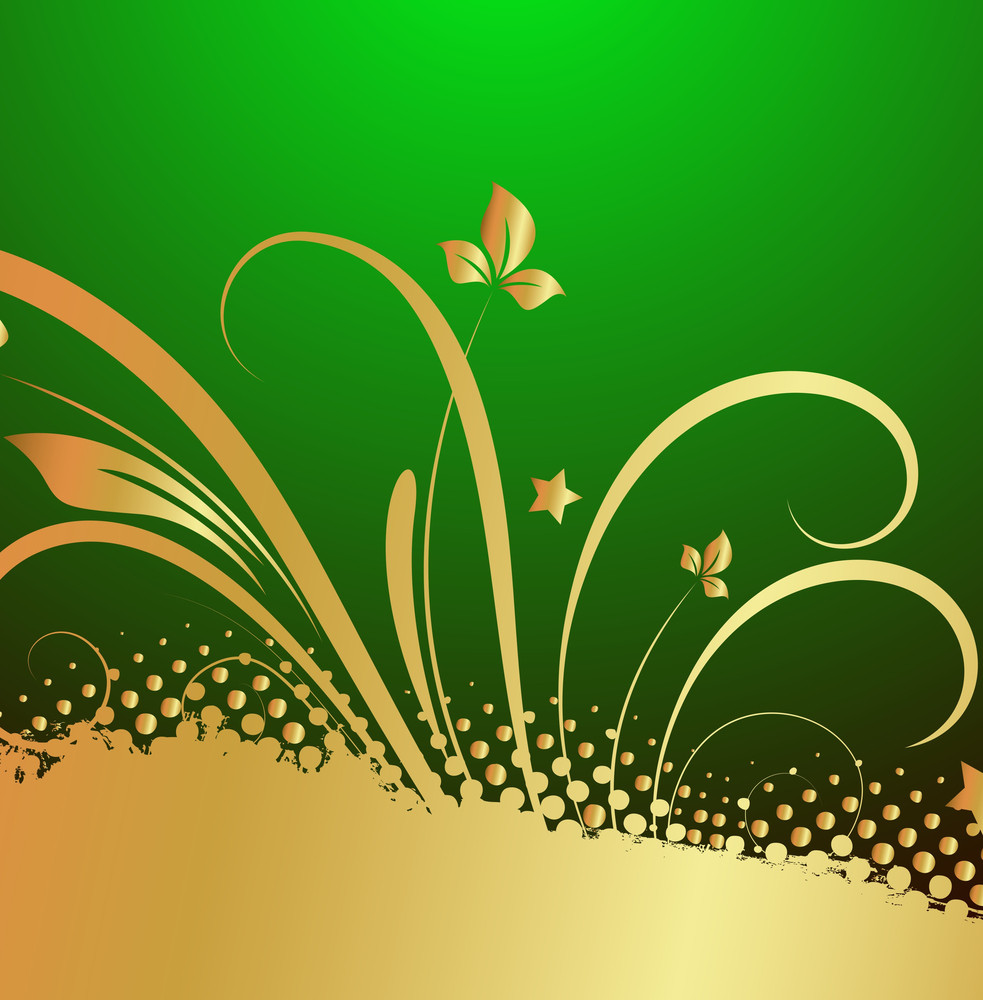 Grunge Golden Floral Patrick's Day Background