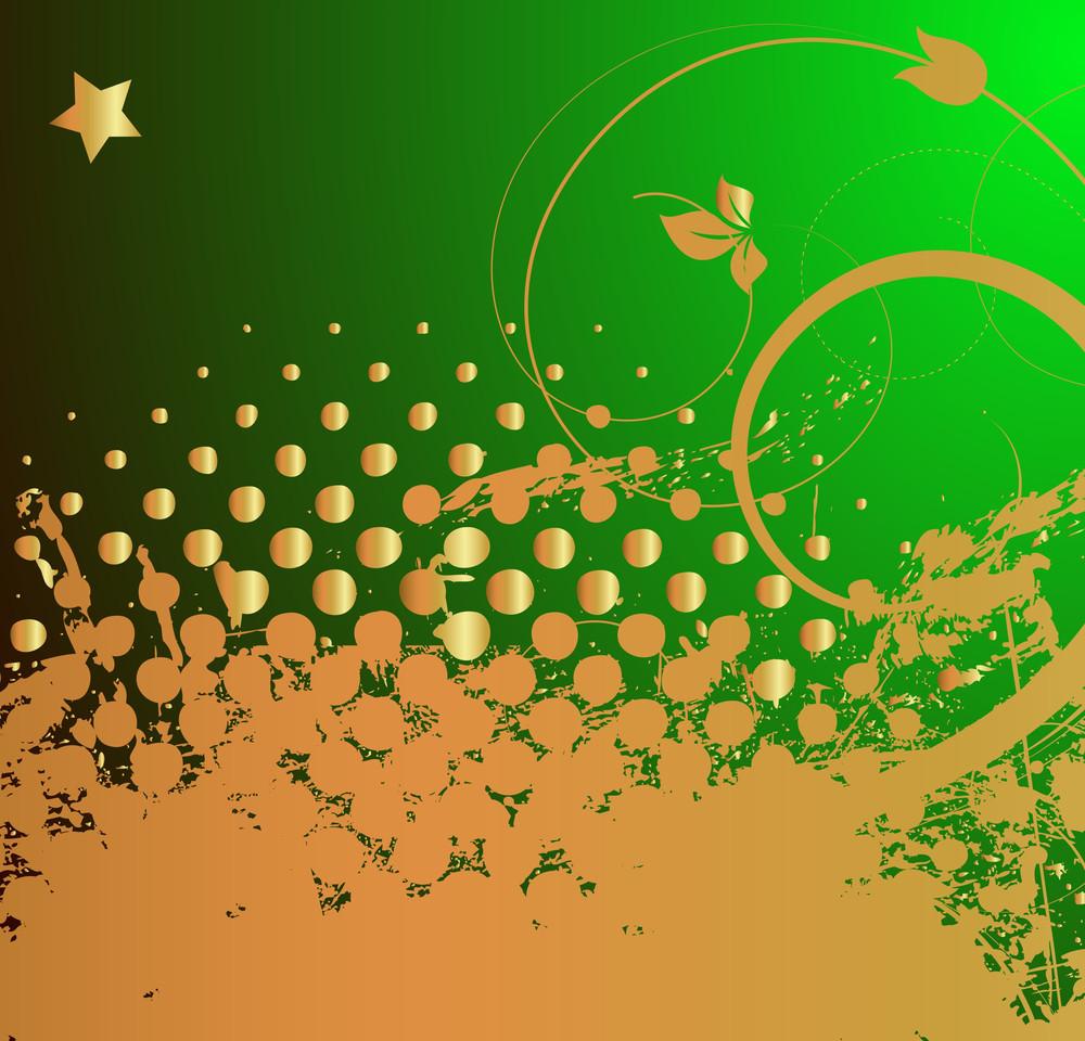 Grunge Golden Floral Patrick's Day Background