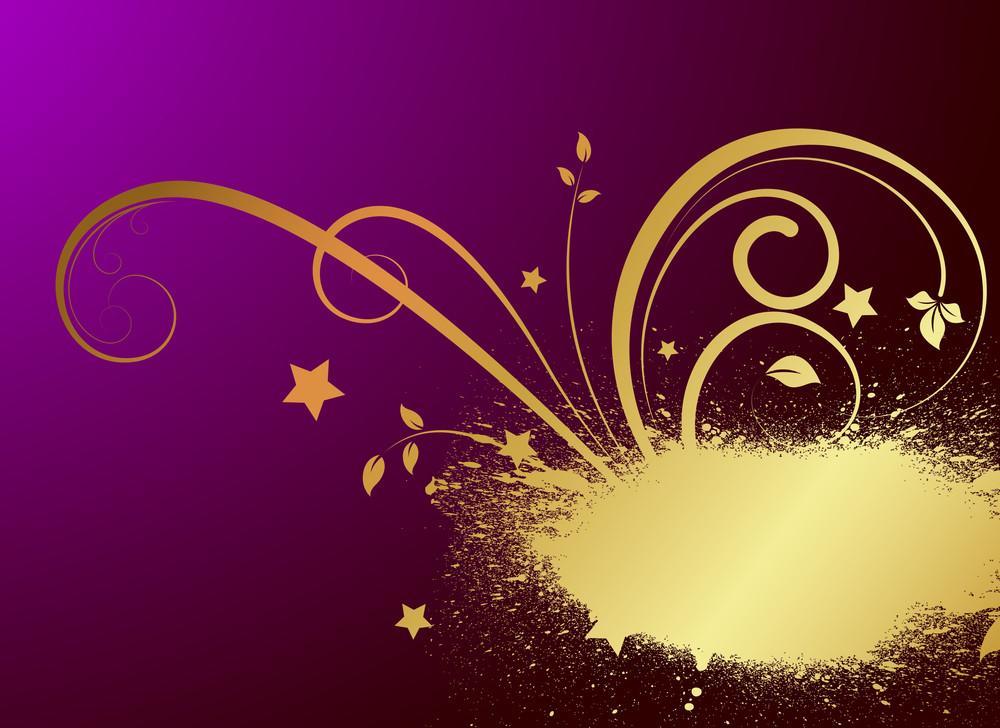Grunge Golden Floral Sparkles Backdrop