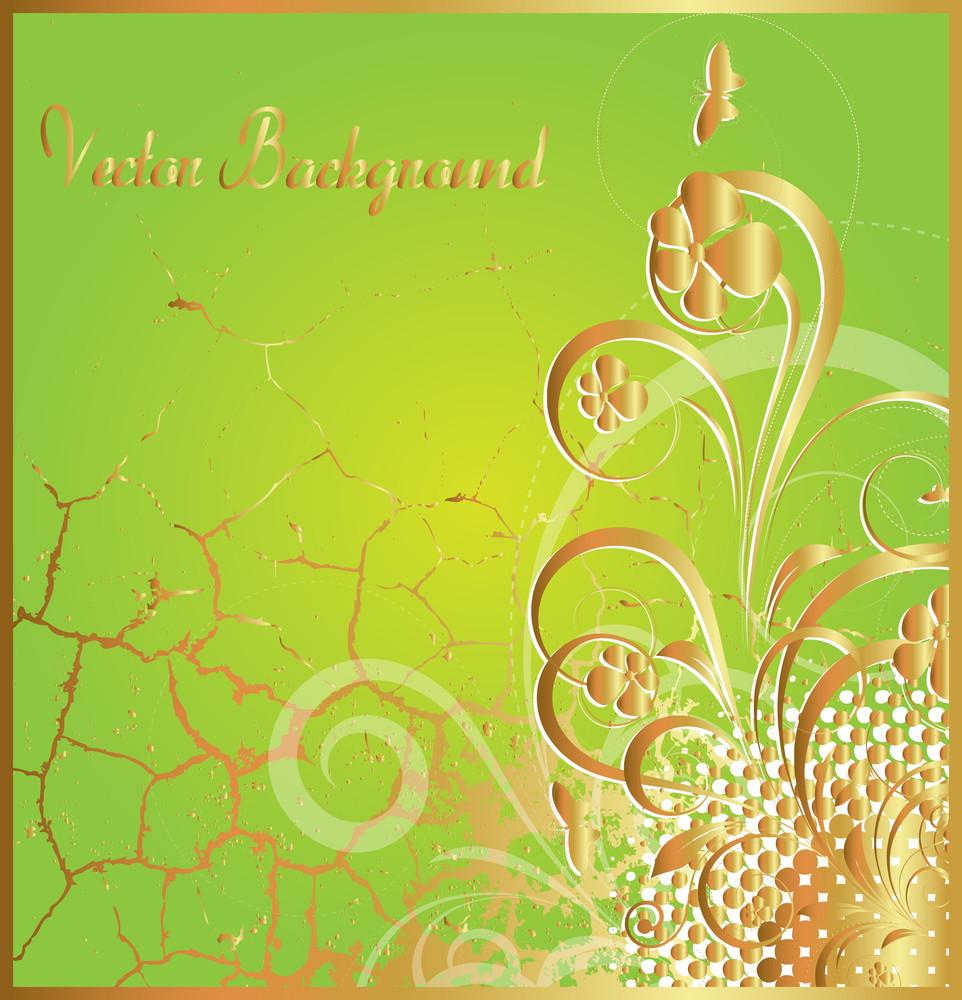 Grunge Golden Flourish Background