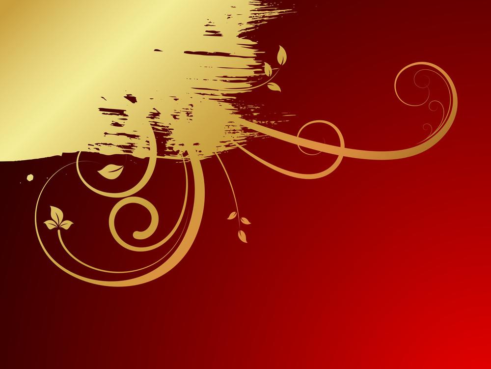 Grunge Golden Flourish Banner
