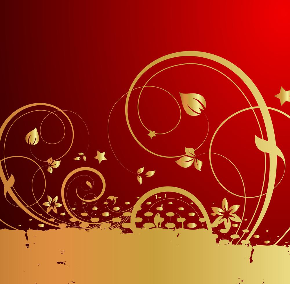 Grunge Golden Halftone Flourish Background