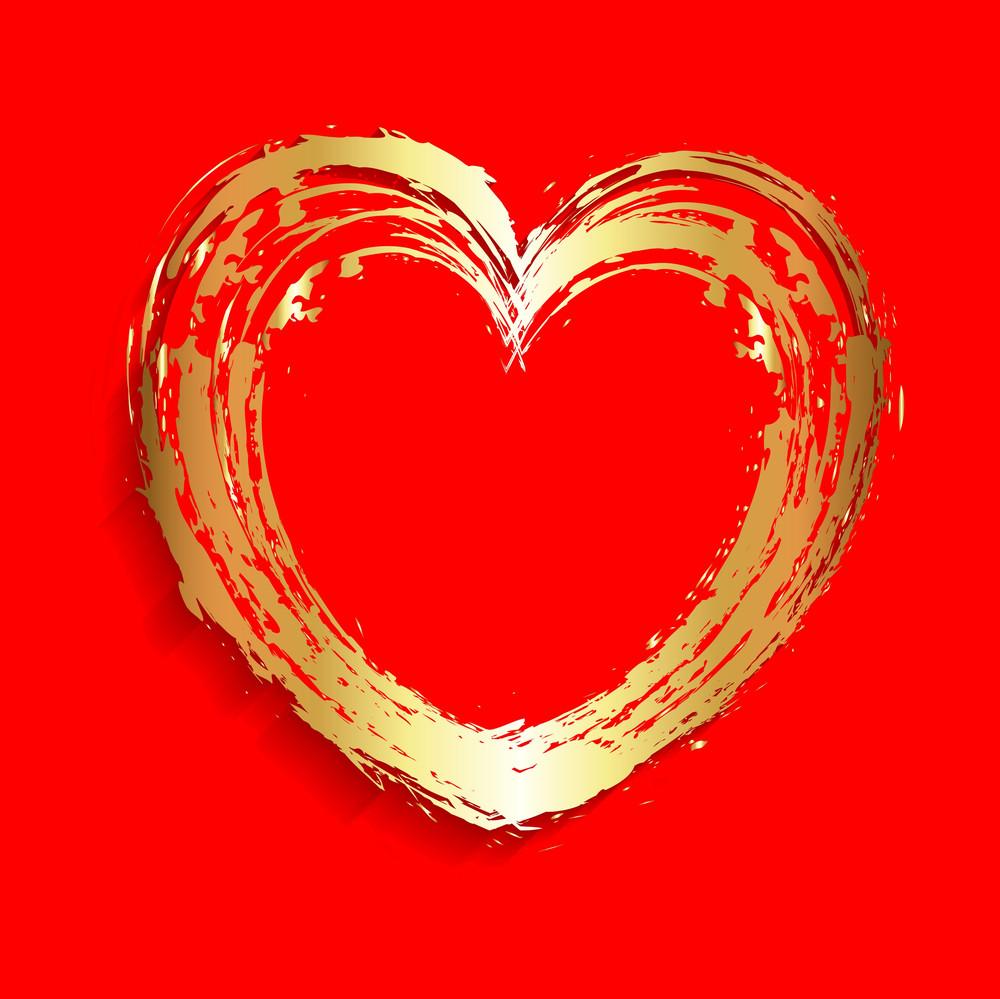 Grunge Golden Heart Frame
