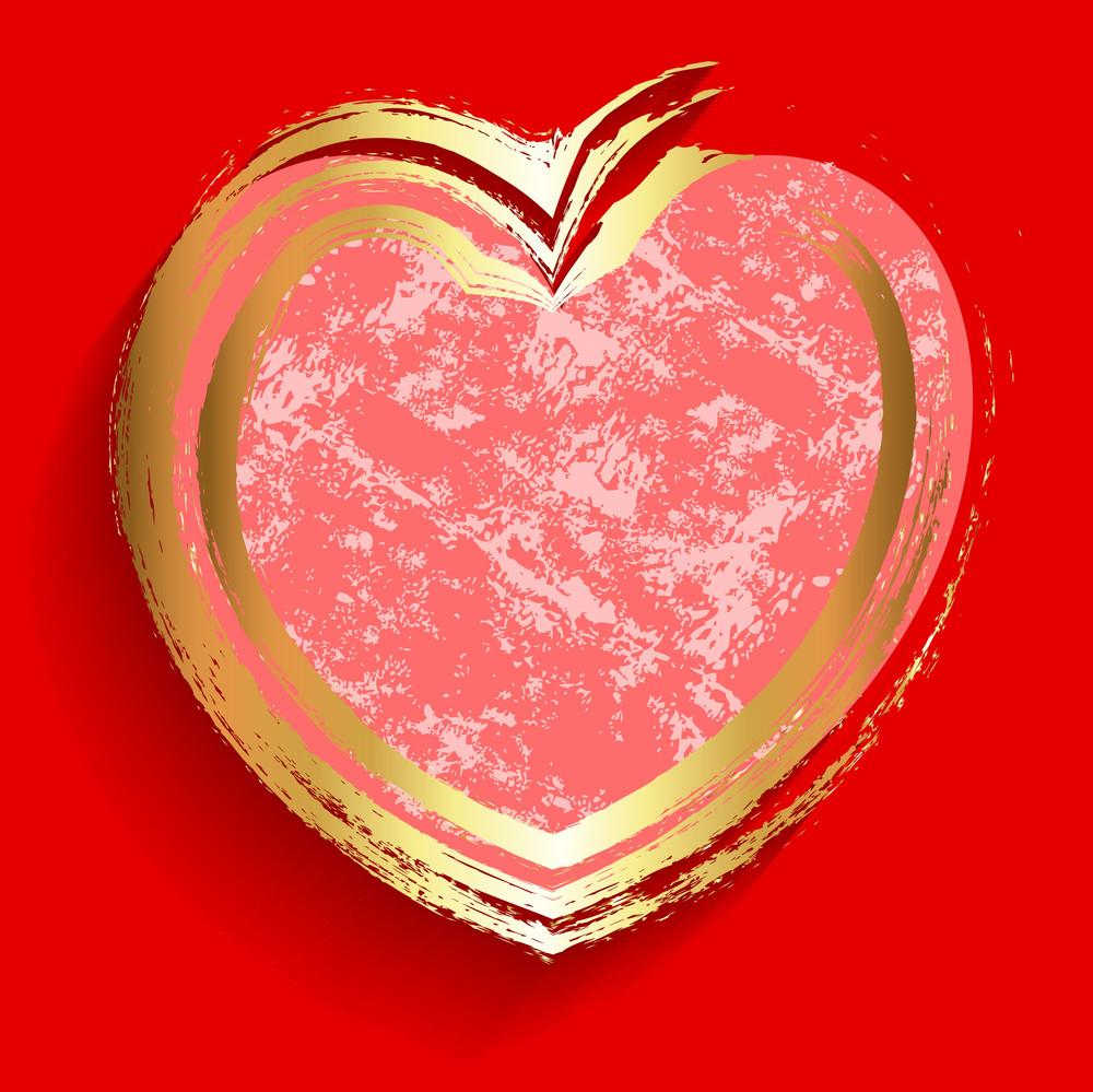Grunge Golden Love Heart