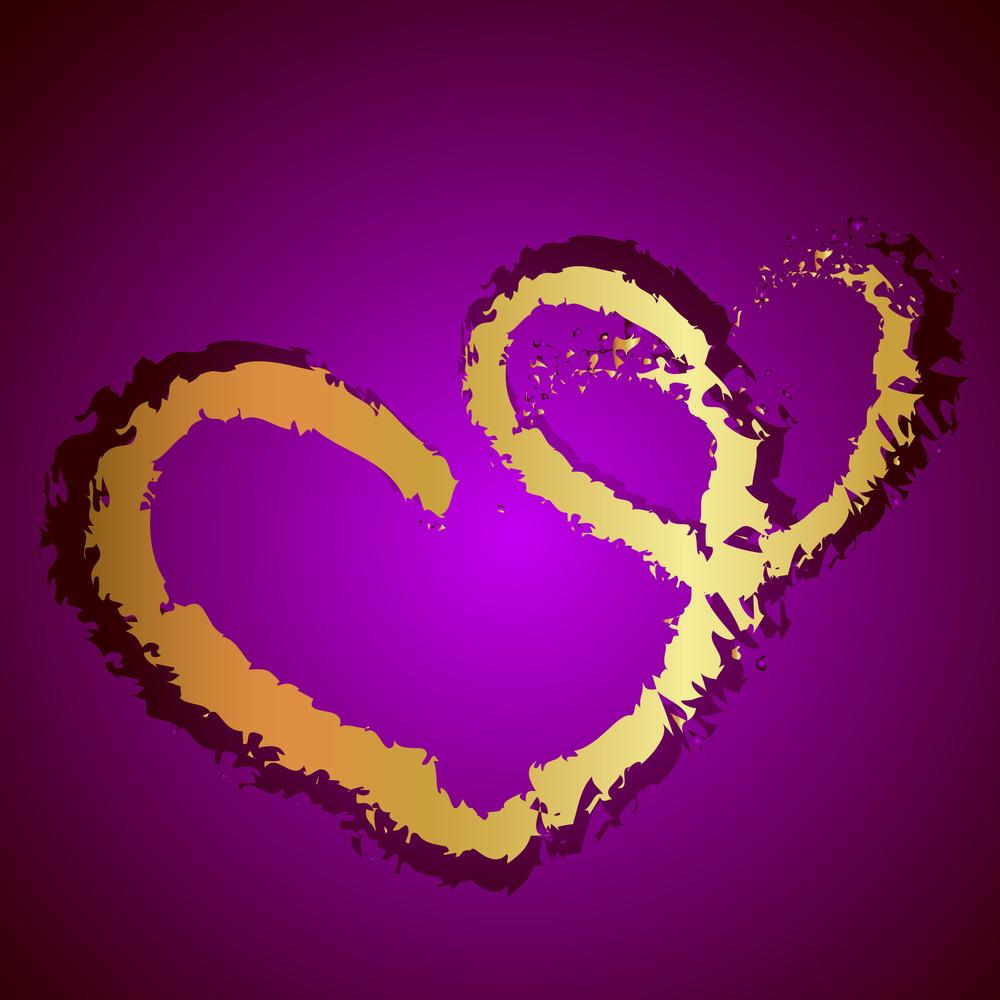 Grunge Golden Love Hearts Background